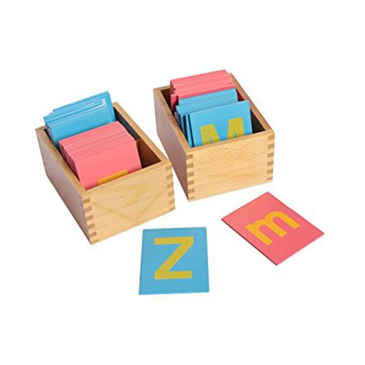 Lernspielzeug Montessori Schulmaterial Holzspielzeug Kleinbuchstaben Sandpaper Letters