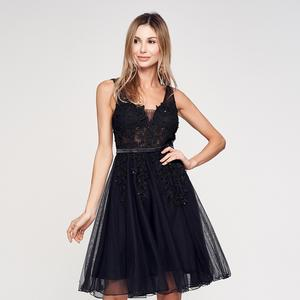 elegant sexy Casual Shoulder Straps women mesh Tutu Skirt ladies Embroidery Sleeveless black Waist lace evening dress