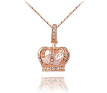 Women Queen Crown Pendant Necklace 3 Lays Rose Gold Platinum Plated With Austrian Crystals
