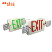 Hot sale Led Exit Sign Rechargeable Side Mounted Twin Head Emergency Light for Hotel