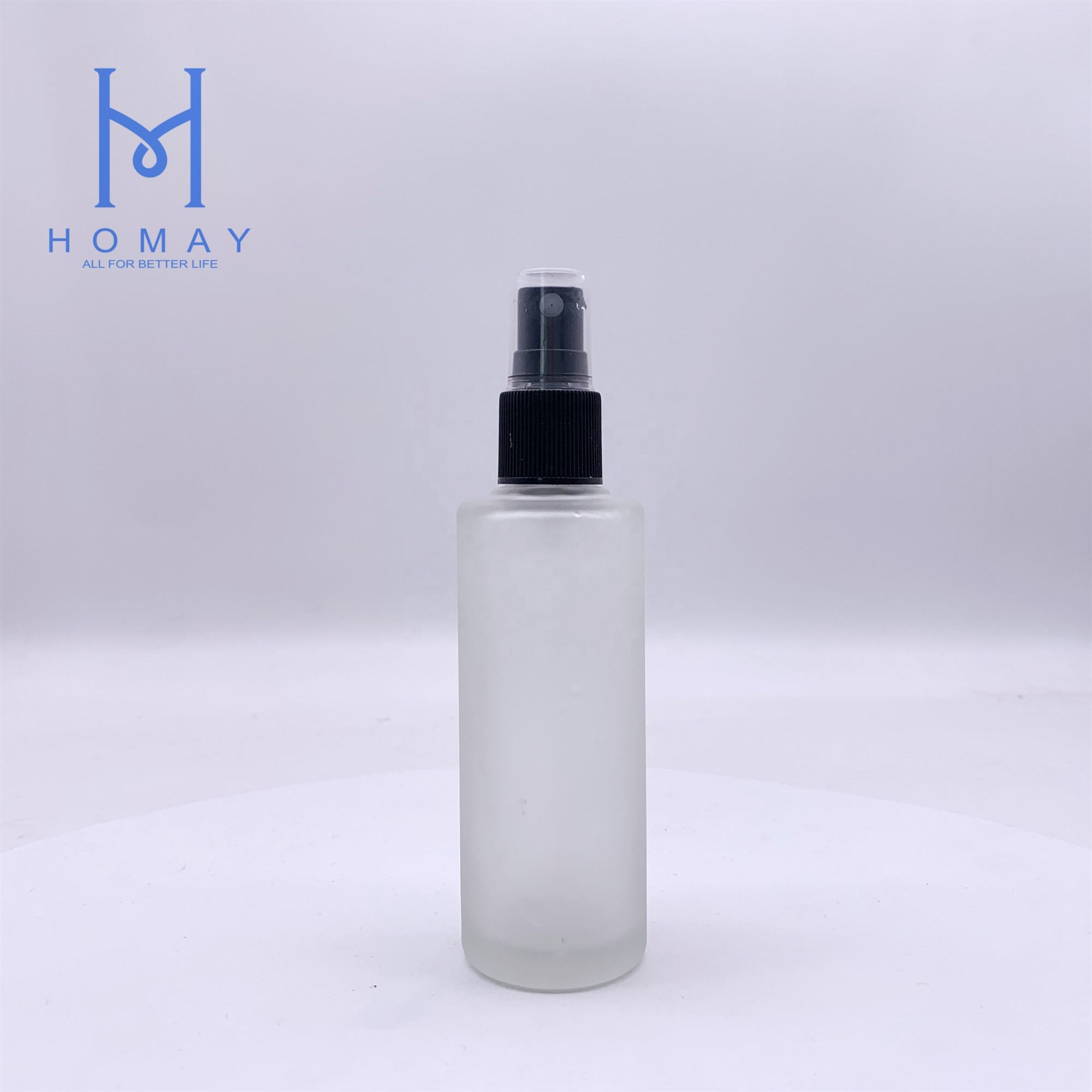 High quality 85ml cosmetic perfume frosted glass lotion pump bottle straight circle shape