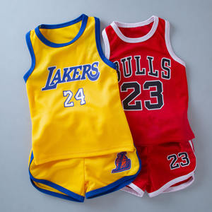 Latest Design high quality sports design Fashion summer new arrival printed kids basketball wear jersey sets