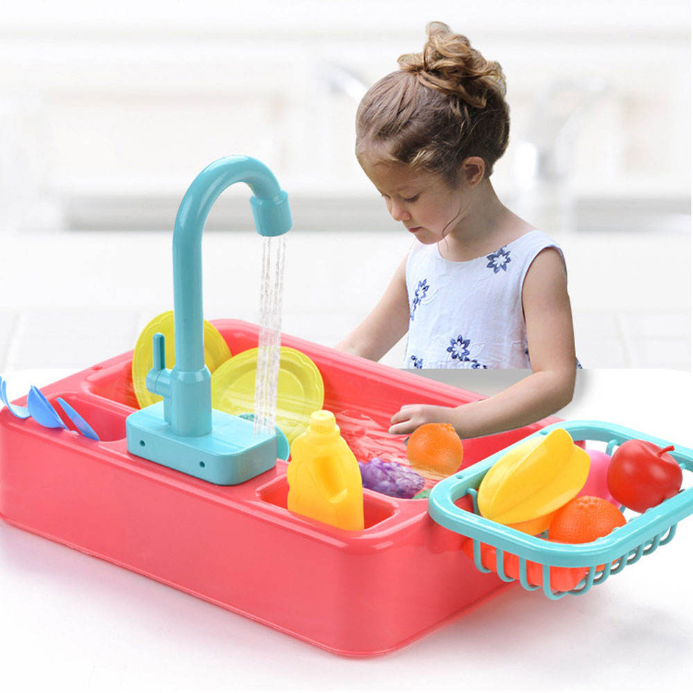 Kids Kitchen Toy Simulated Electric Dishwasher Pretend Play House Games Sink Dish Washing Set Children Christmas Birthday Gift
