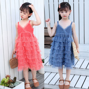 Wholesale girl's boutique dress fashion girl's suspender ski children's casual yarn slip dress