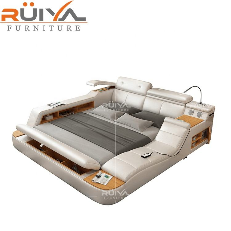 Most Popular modern multifunctional leather king size bed with storage