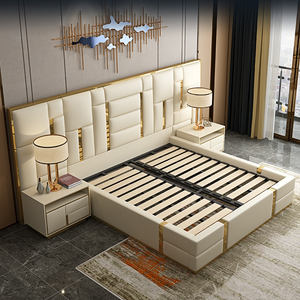 Italian ultra modern king size genuine luxury leather bed with storage and long bed head