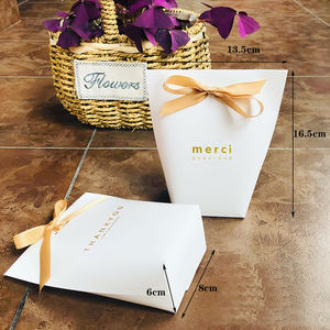 Mini Paper Bag with Bow Ribbon White Packaging Custom Printed Cheap Small Gift Bags