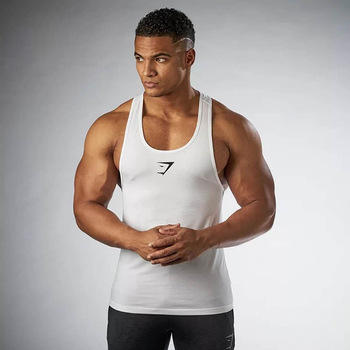Custom Logo Design Polyester Cotton Mens Gym Men Fitness Bodybuilding Fitness Tank Tops