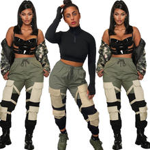 harem hip hop fall pants with pockets casual stacked cargo pants women