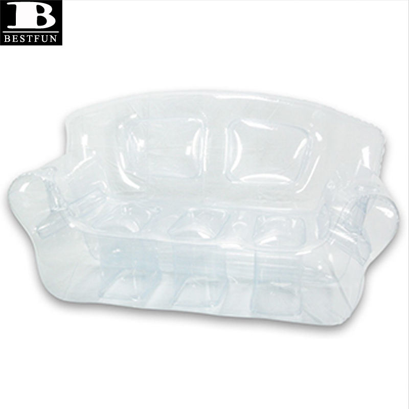 China Factory custom made inflatable transparent outdoor & indoor sofa clear plastic portable fold up double couch furniture