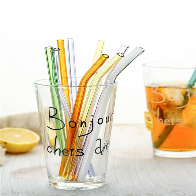 Food grade color glasses straw Reusable Eco Friendly Custom logo Drinking Borosilicate Glass Straws with brush