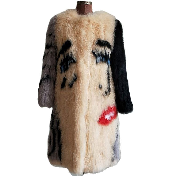 New Design Ladies Winter Knitted Fox Fur Coat