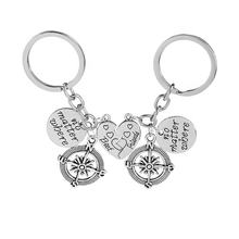 good friend heart compass metal pendant keychains