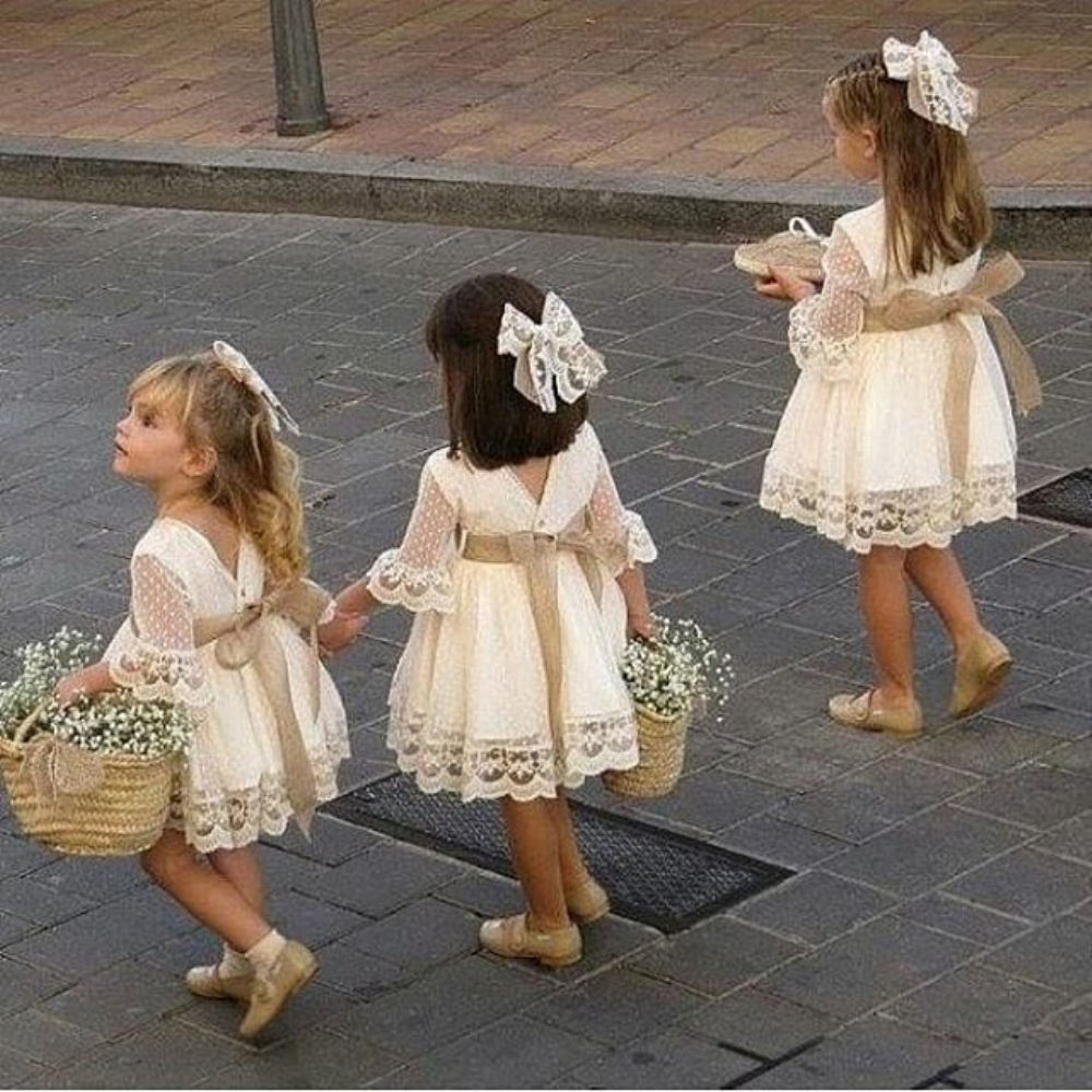 Spring Girls Bridesmaid White Dress Baby Toddler Kids Knee-Length Fashion Party Lace Long Sleeve Bow Wedding Princess Dresses