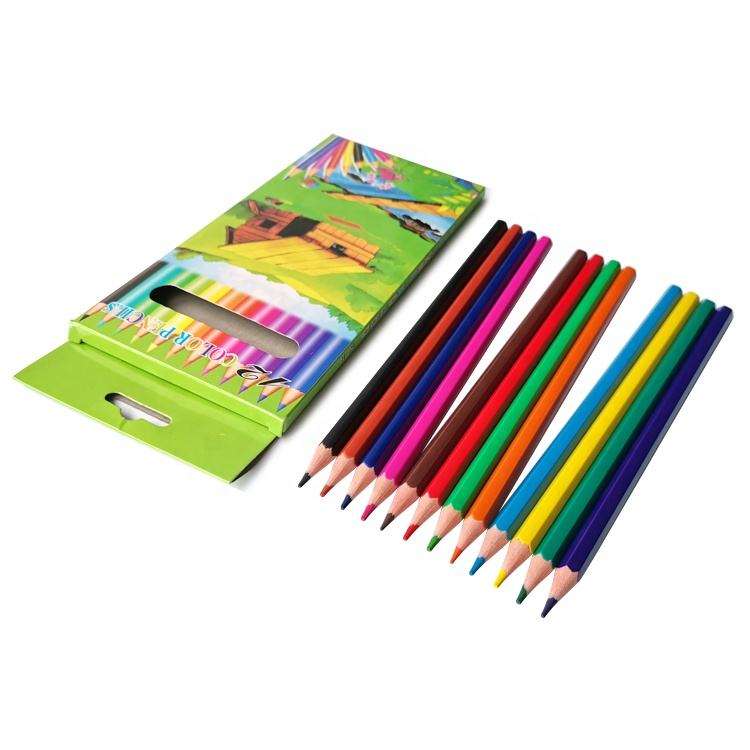 Wholesale Soft Lead 7 inch Hexagonal 12 Plastic Color Pencil