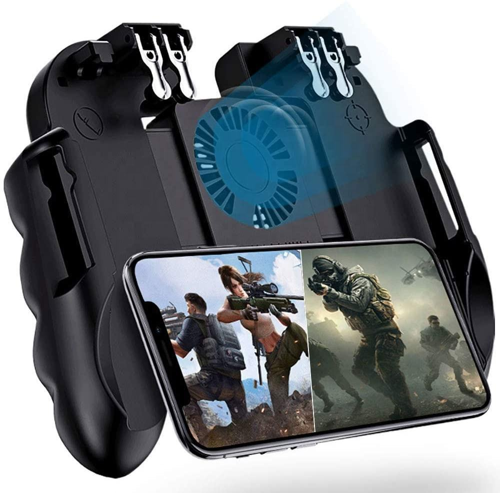 Mobile Game Controller with Imitation Triggers, For PUBG Mobile Joystick 6 Fingers Operation, Remote Shooting Aim Gamepad