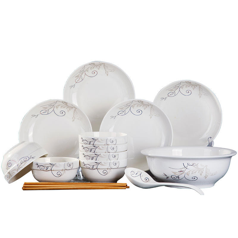 Restaurant Mainstays Printed Ceramic Tableware Porcelain Blue And White Chinese Wholesale Dishes Dinnerware China