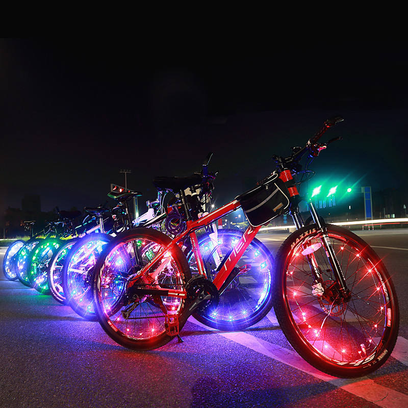 Colorful waterproof USB rechargeable bike wire string flashlight warning LED bicycle wheel light