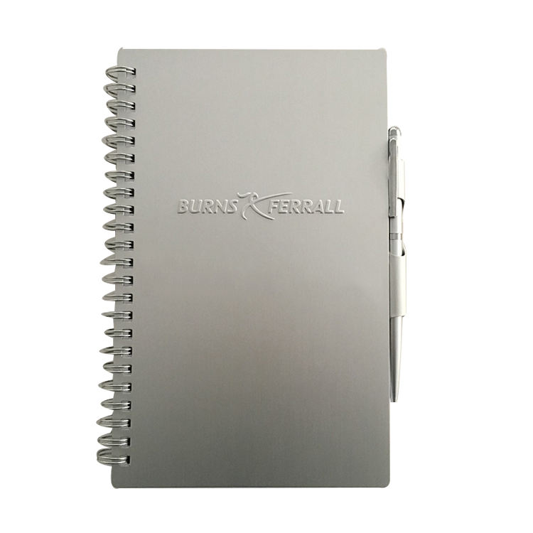 quality promotional gifts metal cover spiral notebook with pen holder