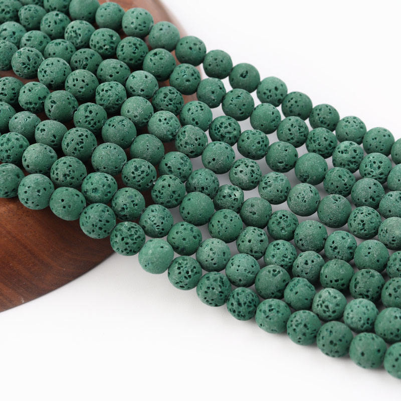 Natural Lava Stone Green Volcanic Dyeing Stone Round Loose Beads Diy Spacer Beads 6 8 10 12mm Bracelet Jewelry Making
