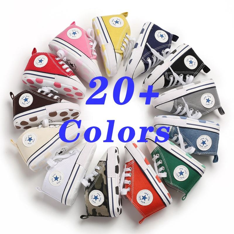 Designer wholesale 20 Colors ODM/OEM Canvas shoes first Walker boy and girl crib Baby shoes
