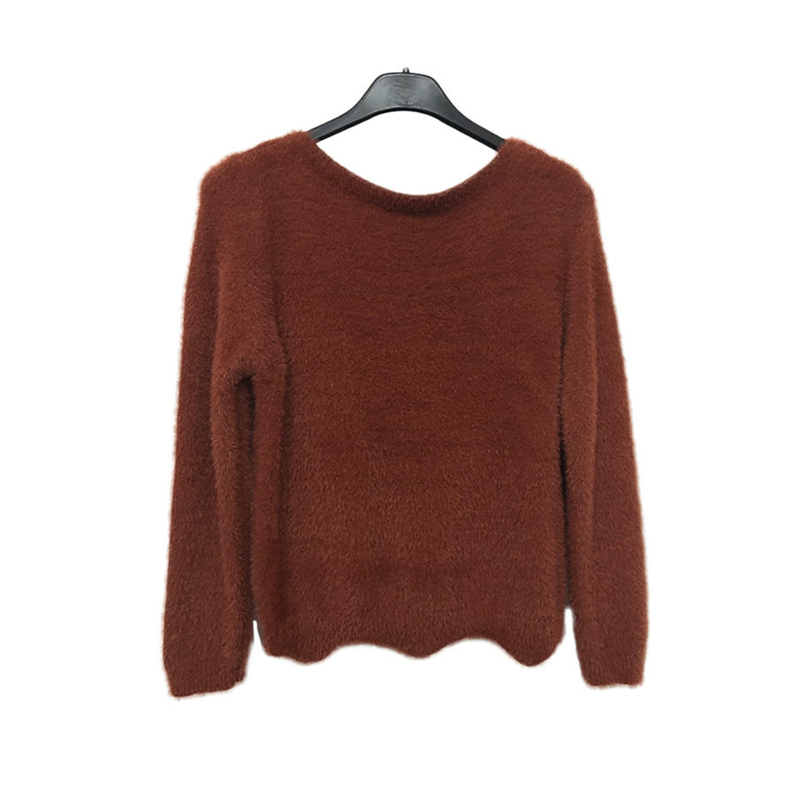 Reine farbe warme crew neck frauen mohair sexy pullover pullover