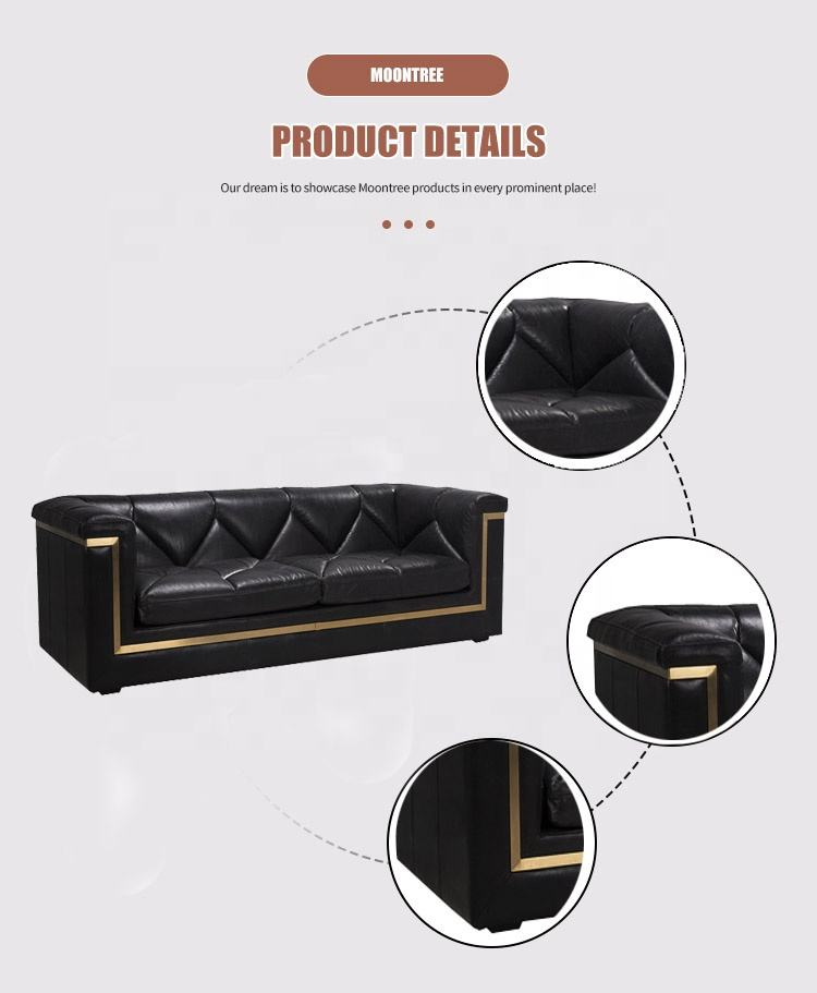 Rumah Modern Furniture Sofa Set Disesuaikan Desain Italia 2 Seater Sofa Set Luxury Living Room Kamar Hitam Sofa Kulit