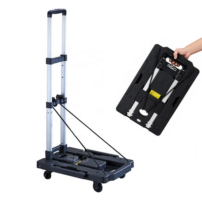 Compact heavy duty platform flatbed lightweight portable dolly folding luggage hand trolley cart truck factory 5 spinner wheels