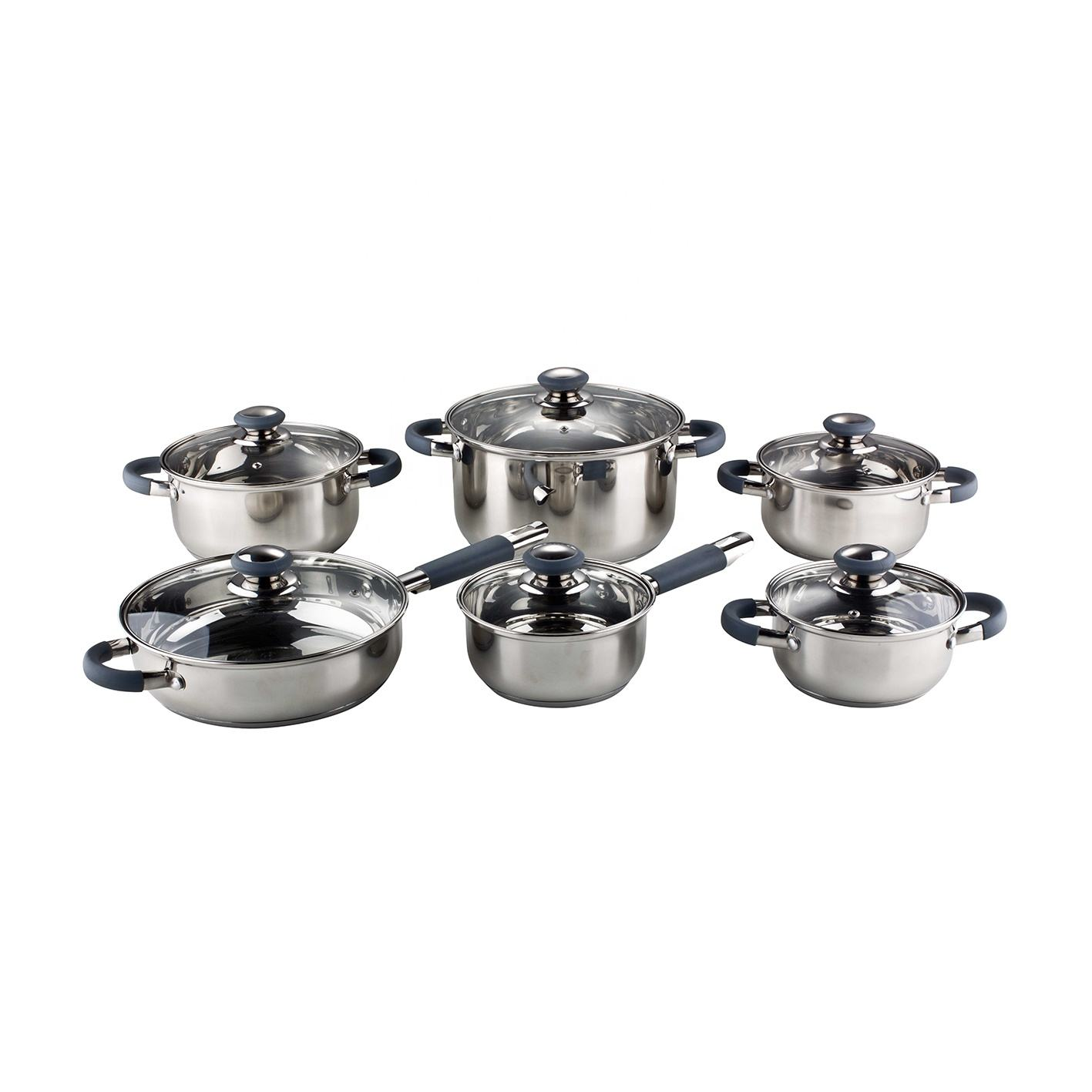 12 pcs Stainless Steel Cookware Set with Glass Lid Cookware Set for Induction Cooker New Saucepan and Casserole