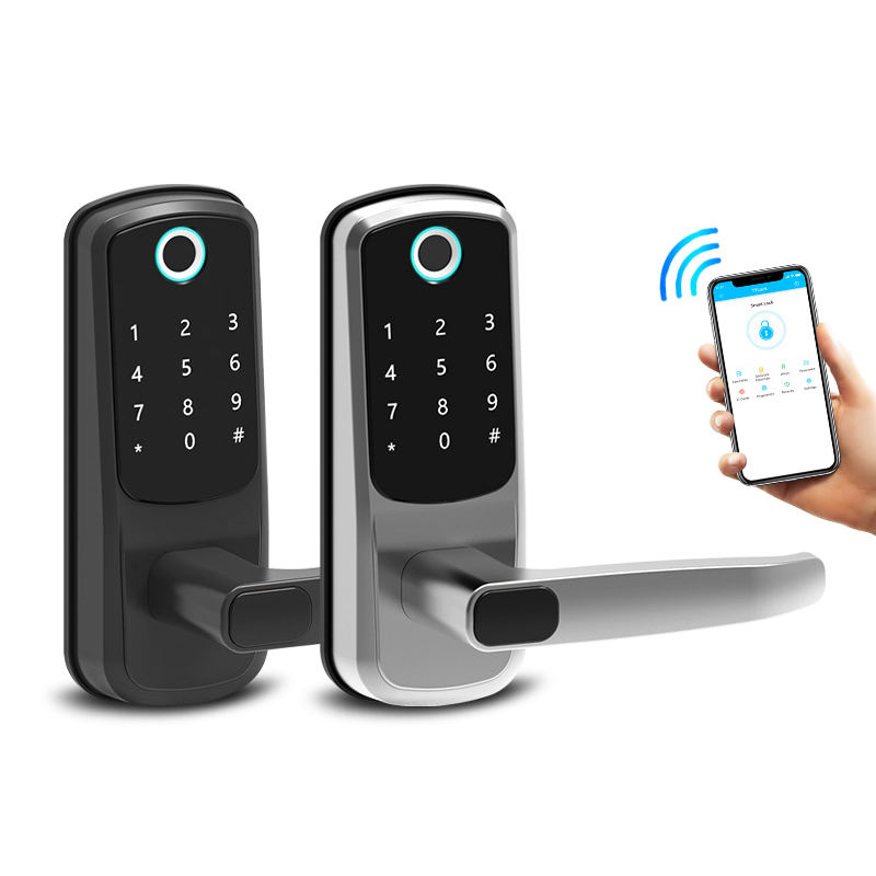 Safety Bluetooth Electric APP Fingerprint Card Code Combination Smart Door Lock with Touch-Screen Keypad