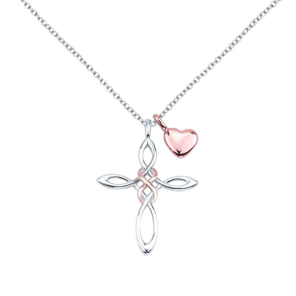 Lofitly Jewelry 2020 Fashion Necklace Charm Silver Plated Women Custom Infinite Love Cross Pendant Necklace
