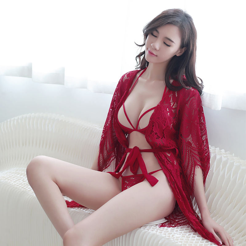 Hot Lace Babydoll Lingerie Women Sexy Transparent Pajamas Sexy Nighty For Honeymoon
