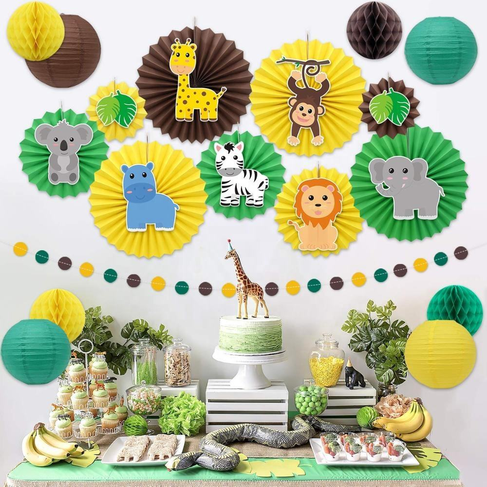 Safari Jungle Animal Party Decoratie Wilde Thema Opknoping Papier Fans Rozetten Lantaarns Tissue Honingraat Bal Cirkel Dot Guirlande