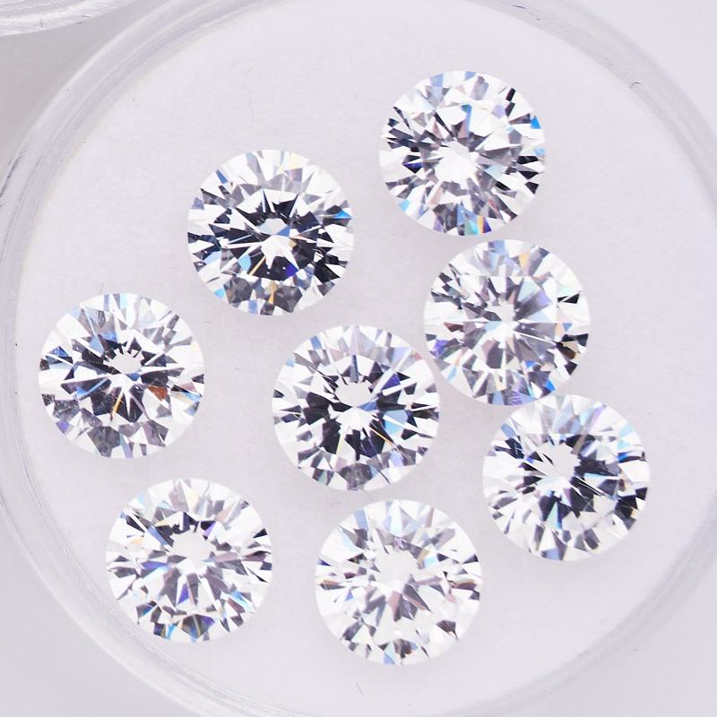 3A high quality 0.8mm-2mm white color round shape synthetic cubic zirconia brilliant cut factory prices loose gemstone