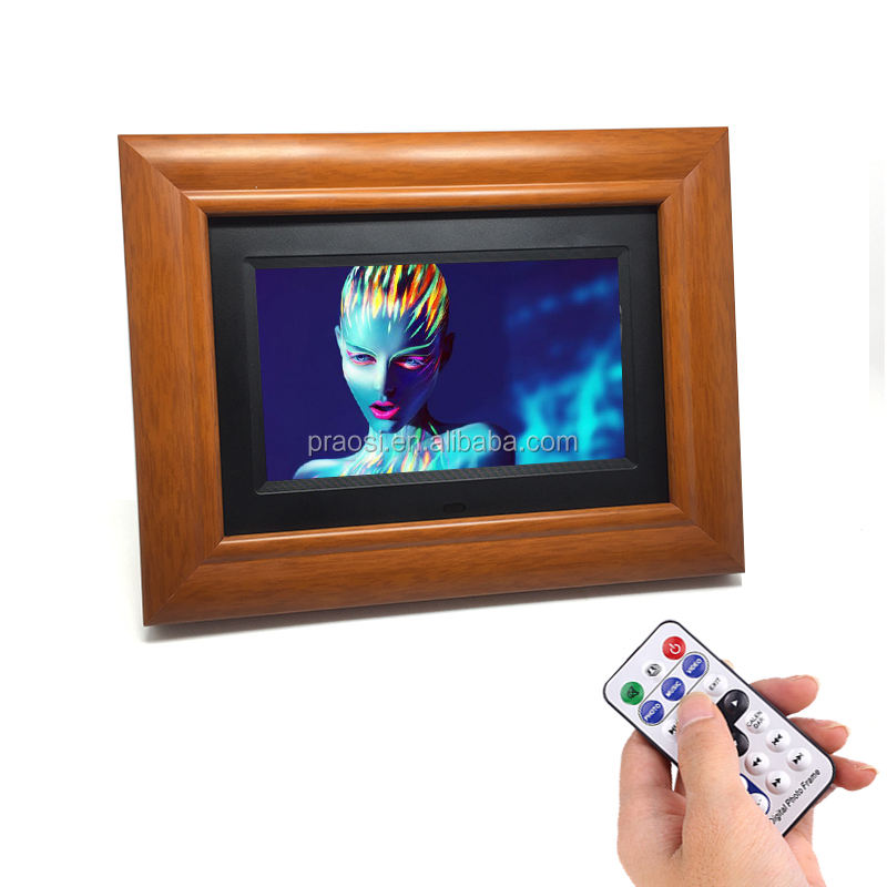 2020 cheapest HD 1080p loop video 800*480 7 inch wood digital photo frame with usb