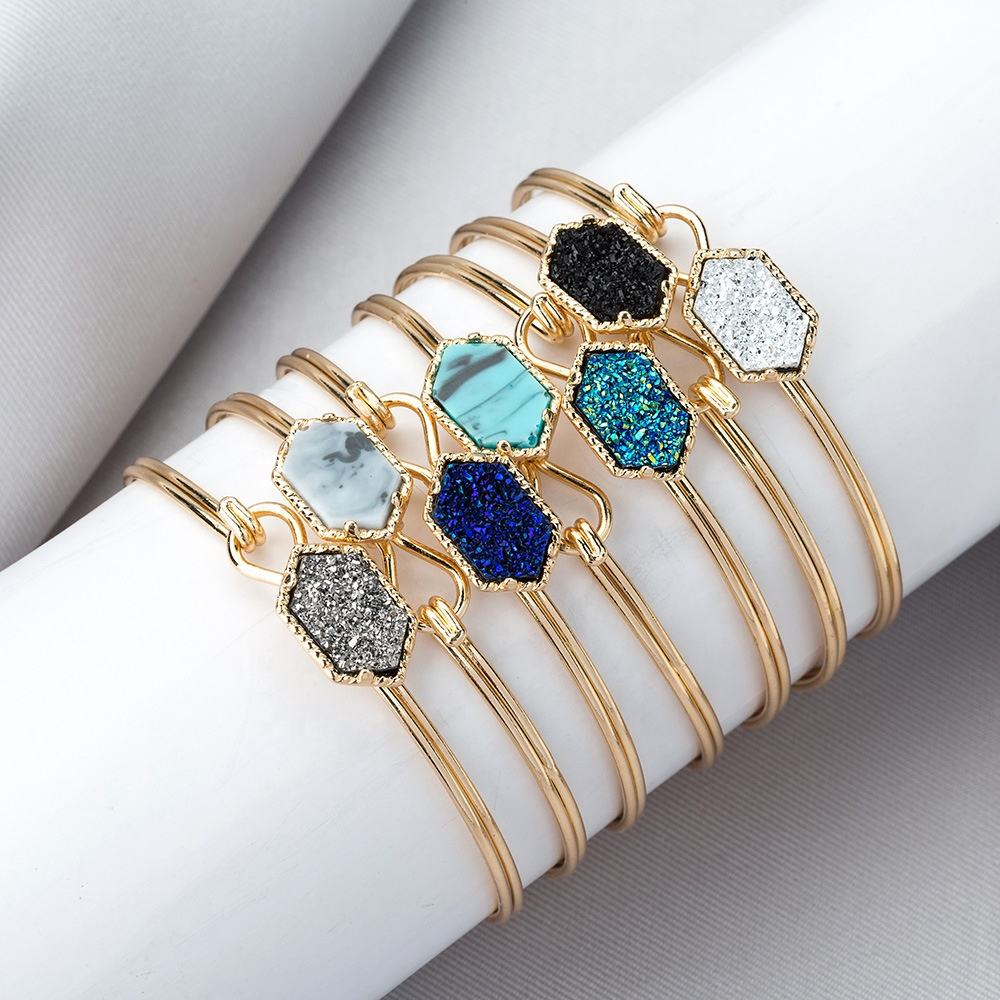 New Design Fashion Bracelet Bangles Jewelry Open Adjustable Natural Stone Crystal Cluster Turquoise Bangles Bracelets For Women