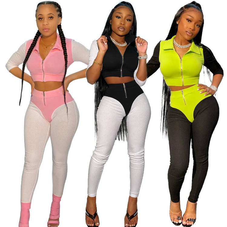 2020 New Spring Two Piece Crop Top and Pants Womens 2 Piece Bodycon Jogger Set Knit 2 Pieces Set