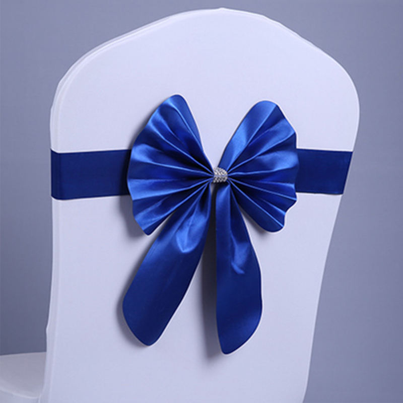 Whosale Sapphire Blue Chair Cover Decoration Chair Sashes Bow Wedding Party