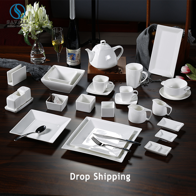 Savall HoReCa 32pc white porcelain dinner set ceramic dinnerware set porcelain dinnerware bone china tableware hotel restaurant
