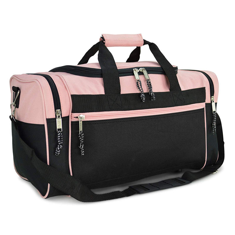 Blank Sports Duffle Bag Gym Bag Travel Duffel Bag with Adjustable Strap in Pink