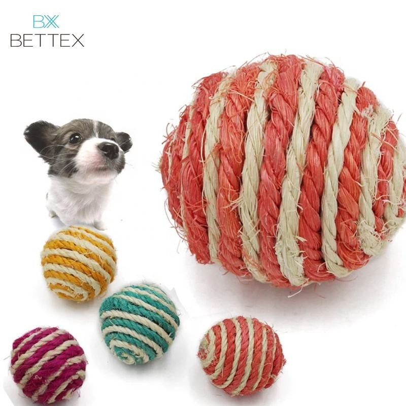 Factory Price Customized Color Natural Sisal Pet Cat Chew Toys Ball