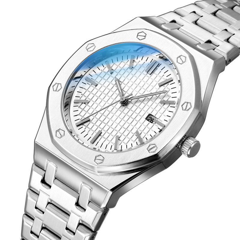 In Stock Stainless Steel Band Buckle custom Luxury Men Watch Quartz Branded reloj jam tangan