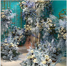 Blue ocean theme wedding decoration artificial flower wedding hall with silk flower road guide flower wall