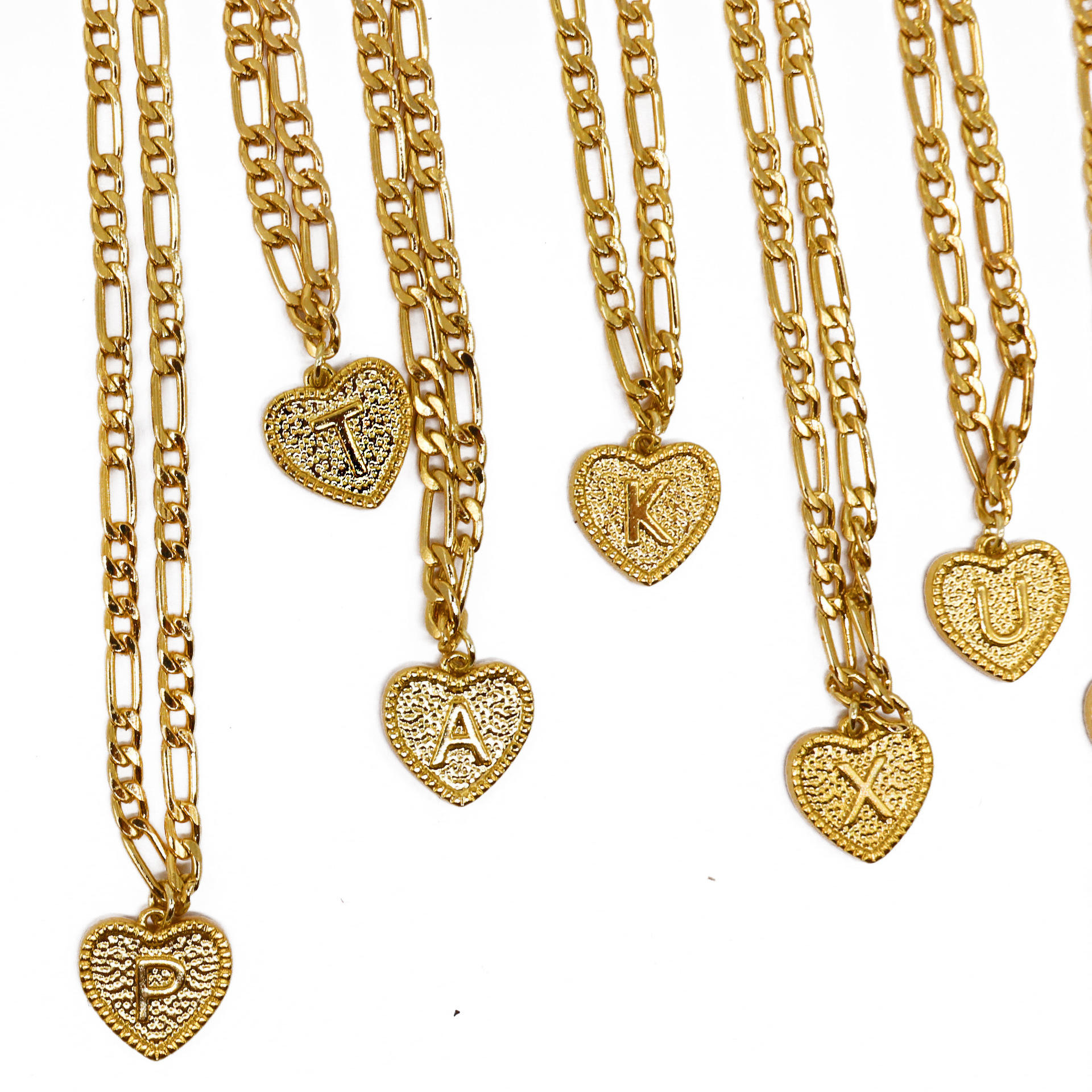 Stainless steel heart shape gold Charm jewelry initial anklets with letters