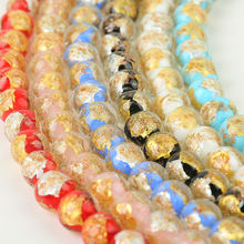 Factory direct sale half gold foil half silver foil lampwork glass beads DIY loose beads for Jewelry Making