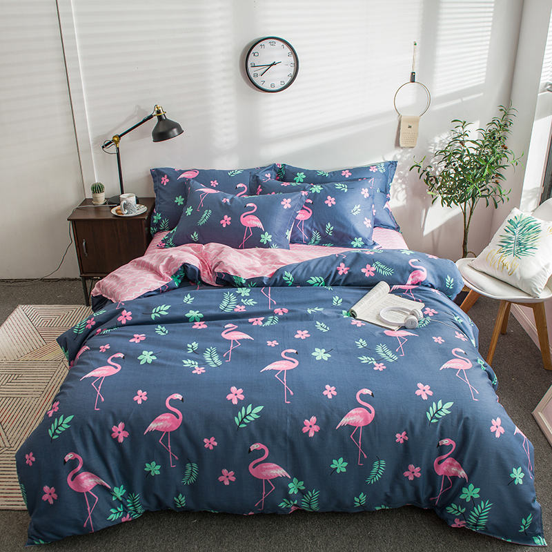 Pink Flamingo Pattern Plaid Duvet Cover 4 pcs Bedding Set Adult Kids Soft Comfortable Bed Linens