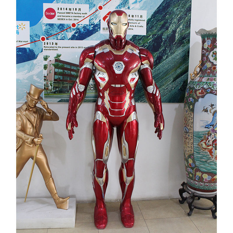 Glass fibre reinforced plastic iron man super hero giant statue figurine for home decoration outdoor/indoor decoration
