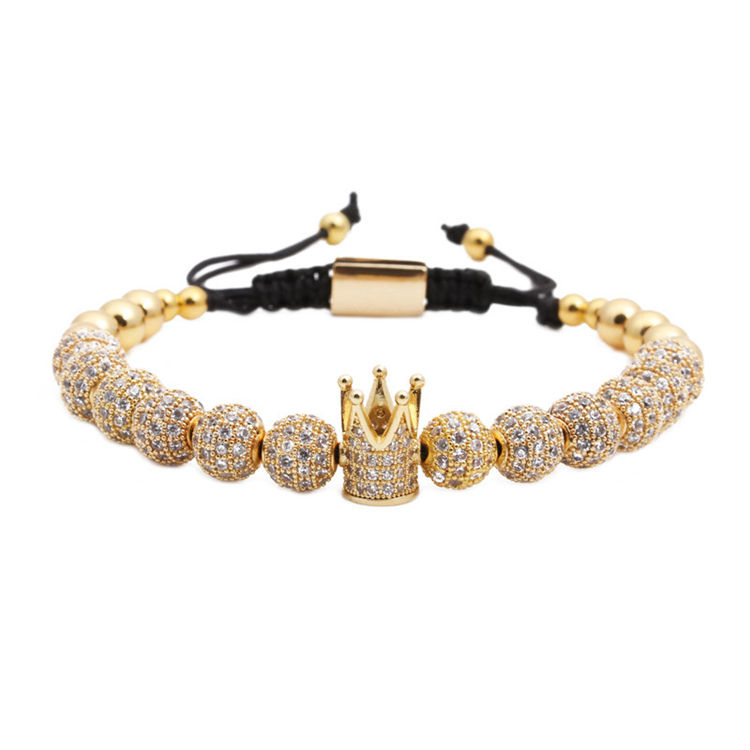 European Hot Selling Luxury Handmade Adjustable Braiding 18K Gold Plated 8mm Micro Pave CZ Balls Crown Macrame Bracelet