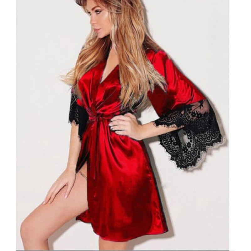 Wholesale satin silk robe with contrast lace robes sleepwear for women