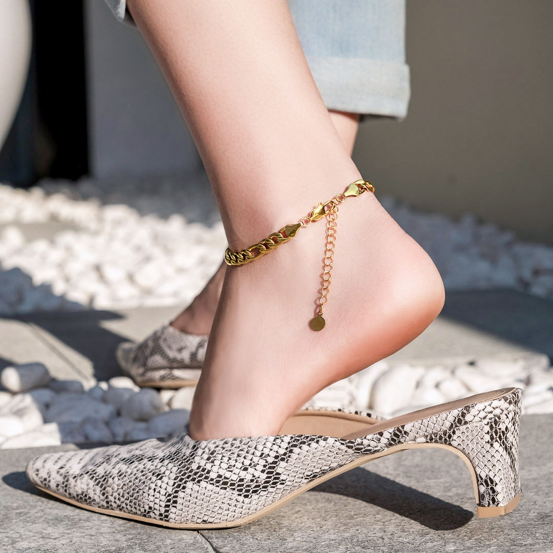 KRKC Trendy 316L Stainless Steel Figaro Anklet Foot Jewelry Women Luxury 14k 18k Rose Gold Filled Leg Chain Feet Jewelry Anklet